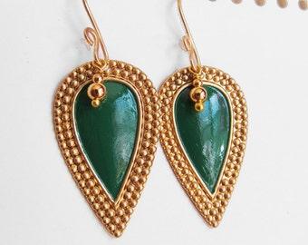 Nouveau Antiquity - Petite Golden Brass Shields in Emerald Green