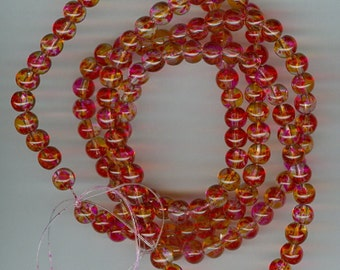6mm Red and Pink Spotted Glass Round Beads 30in strand