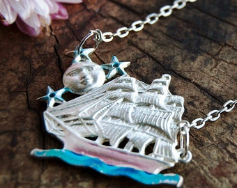 Lunar Sailing Ship Necklace / Moon Star Necklace / Nautical Ship Necklace