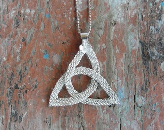 Infinity Necklace Hand woven Sterling Silver jewelry Celtic Knot Necklace Small pendant