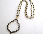 Linked Pyrite Necklace with Pavè Diamond Focal Pendant in 22kg Vermeil...