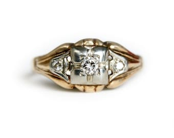 Art Deco Diamond Ring - Vintage Gold and Diamond Ring