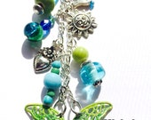 Blue & Green Beaded With A Butterfly *Keychain * Purse Charm * Planner Decoration* A Great Gift For You Or A Friend
