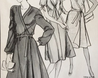 1980s Wrap Dress Vintage Stretch and Sew 1567 Pattern