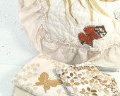 Vintage Twin sheet set, beige butterfly and maiden hair fern print, brown and tan, twin bedding