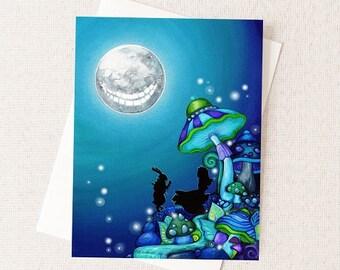 Halloween Alice in Wonderland - Dark Fairytale Halloween Card - Alice Halloween Art White Rabbit Cheshire Cat - Dark Fantasy Card