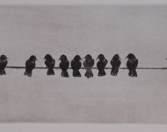 """Dry Point Intalio print of crows  - """"Caucus"""" - Original Dry point"""