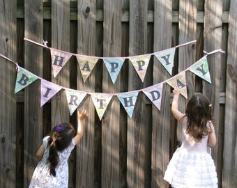Happy Birthday Bunting, Shabby Chic, 2 Fabric Bunting Banners, Reversible Designer's Choice Banner, Party Flags. Pink, red, blue.