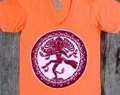 Shiva batik hand painted hand dyed men's clothing orange v-neck  t shirt -yoga clothes-
