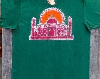 Taj Majal Mens t shirt batik clothing organic cotton yoga top hand dyed forest green Eco friendly hand painted yoga clothes