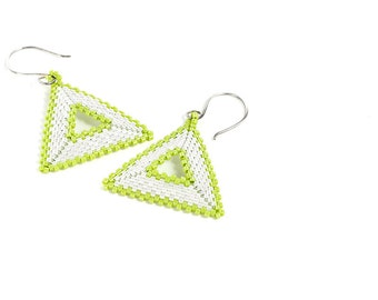 Triangle Earrings // Beaded // Lime Green and White // Beadwork // Pierced // Made to Order