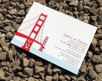 San Francisco Wedding Invitation Set - Custom - Wedding Invitation - Golden Gate Bridge