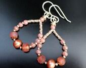 Peach Hoop Earrings, Pearl and Czech Glass Bead Earrings, Dangle Hoop Earrings, Sterling Earwires, Bridesmaid Earrings, Gift Box
