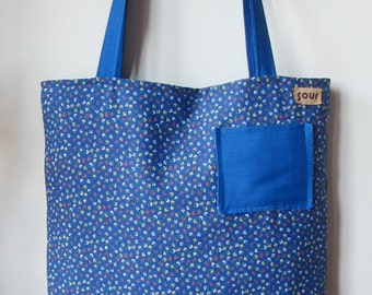 ON SALE Down The Road Cornflower Blue Floral Tote Bag with mini pocket
