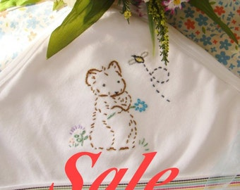 SALE! - Little Miss. Mousie and Bee - Hand Embroidered Swaddling Blanket