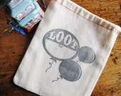 "Letterpress Bag • Loot Bag • Cotton Blend • Black Ink • Tabletop press • Birthday Parties • Size: 8"" x 10"" • Balloons • inkpetals"
