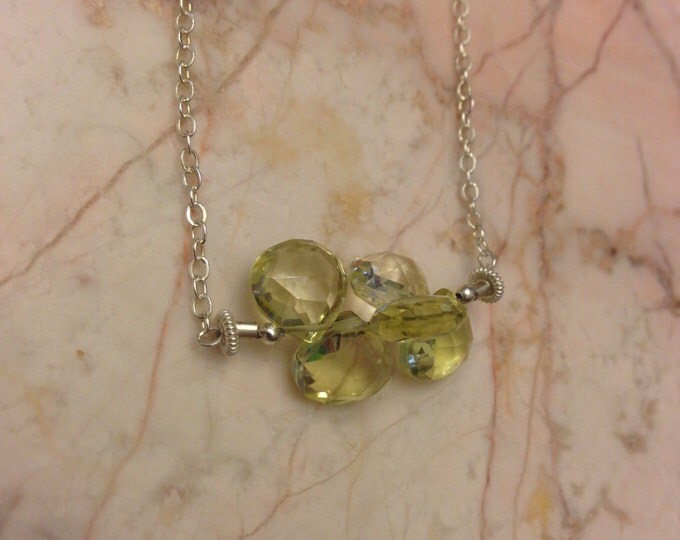 DISCOUNTED Sterling Silver and Lemon Quartz Cluster Necklace
