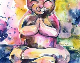 "Cat Watercolor painting, Buddha Kitty Art, Original abstract Cat watercolor art ooak painting ""Buddha Cat 11"" by Kathy Morton Stanion  EBSQ"