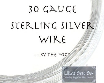 30 Gauge Wire, .925 Sterling Silver Wire, Thin Wire By The Foot, Round, Half Hard Wire for Wire Wrapping Jewelry, Delicate W