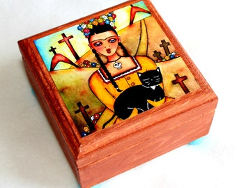 Small Frida Jewelry Box, Black Cat Jewelry Box, Wood Box, Sympathy Gift, Girl and Cat Art, Mourning Art, Ring Box, Blue Yellow