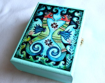 Large Jewelry Box, Seahorse Wood Box, Whimsical Wooden Box, Nautical Beach Art, Fish Art, Blue Teal