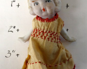 Bisque China Doll - Moveable Arms - Frozen 4 Inch Charlotte In a Dress