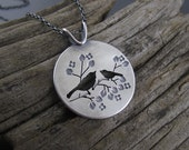 Handmade Sterling Silver Pendant - Springtime Mother and Child Chickadee