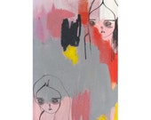 girl art, original painting on paper- hiding their feelings