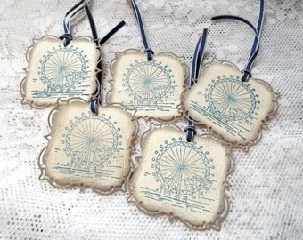 London Millennium Wheel Tags, London Eye, Vintage style tags, Set of 5, Blue Beige Tan Taupe, hand stamped Party Favor Tags, Gift tags