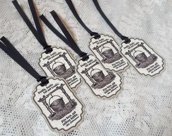 Double Double Toil & Trouble Halloween Tags, Shakespeare Distressed Vintage style tags for packaging, party favors, Set of 5, Black Taupe