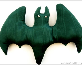 Absinthe Green Gothic Bat Pillow Doll with Pearl Eyes - Brand New by Kambriel