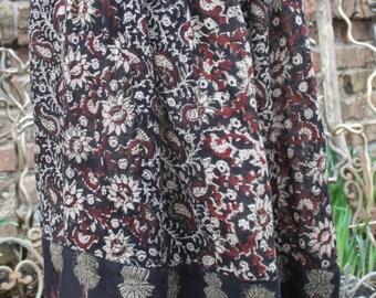 Brown India cotton print skirt hippie festival brown black Free Size
