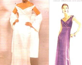 Badgley Mischka gown Wedding or evening dress and shawl sewing pattern Vogue 2134 American Designer Sz 12