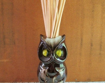 Vintage Inarco Ceramic Owl Marble Eyes Match Holder and Strike