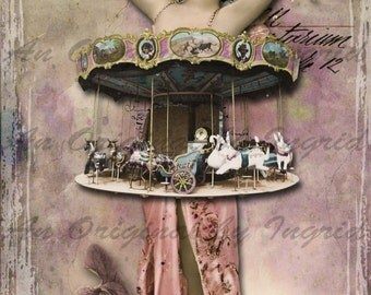 Carousel Babe Digital Collage Greeting Card (Suitable for Framing)