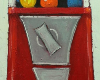 Gumballs 13 12x36inch original oil painting by Roz