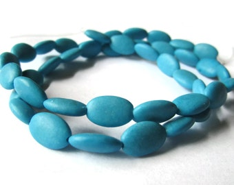 10mm x 7mm Chalk Turquoise Oval Beads Magnesite Beads Stone Beads Turquoise Blue Beads Full Bead Strand
