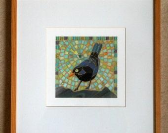 Blackbird II Framed Giclee Print -  Mosaic Blackbird - Mosaic Art