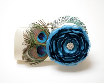 Ivory & Teal Peacock Feather Clutch ~ Bridal Clutch ~ Bridesmaid Clutch ~ Peacock Feathers and Rhinstones ~