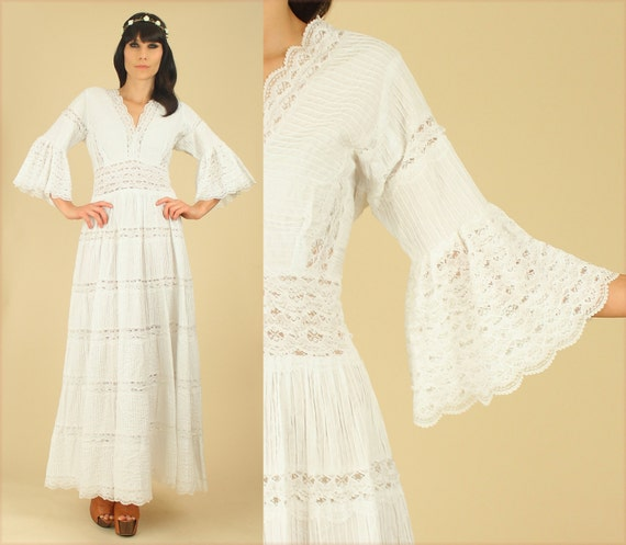 ViNtAgE 60's 70's Mexican LACE Wedding Dress // Cotton