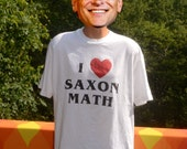 vintage 90s tee shirt i love  heart saxon MATH school teacher science technology t-shirt XL Large white