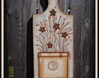 Primitive Wood Bread Board Antique Crock Stars Home Decor Wall Art