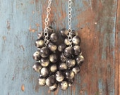 Marbled Ivory & Jet Black Statement Necklace - lucite bauble on chain necklace