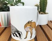 Woodland animal illustrated mug