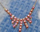 Red Aura Borealis Diamante Rhinestones Set Necklace - Gold Tone Chain Fitting - Graduated Centre - 1950-60s