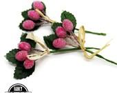 3 - Berry Picks - Pink - Artifical Berries  - Fake Berries - Floral Picks - Flower Picks - Fruit - Millinery - Vintage Look