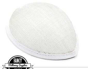 1 - White - Teardrop Hat Base - Hat Form - Hat Foundation -  Sinamay Straw - Fascinator - Millinery