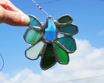 Stained Glass Crystal Flower Mobile Suncatcher - Turquoise Water Crystal Teaser