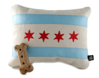 Chicago Flag Embroidered Dog Toy - Handmade dog toy - designer dog toy - made in Chicago - pet toy