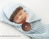Knit Newborn cocoon pod cozy and beanie photography prop